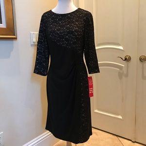 NWT R&M Richards black / lace  knit party dress